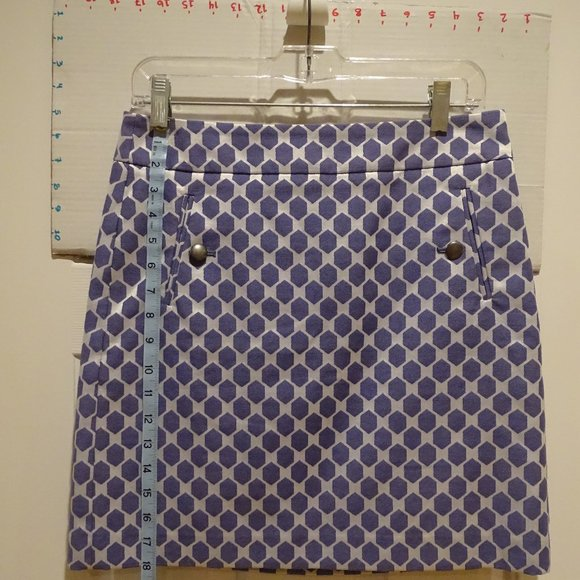 """LOFT Dresses & Skirts - 18"""" Skirt Purple-y on shiny white. Pewter buttons."""